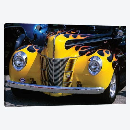 1939-1940 Ford Flame Job Painted Hot Rod Automobile Hood Headlights Grill Front Bumper Canvas Print #VTG195} by Vintage Images Canvas Art Print