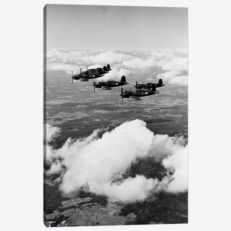 1940s 6 Navy Corsairs Above The Clouds Flying In Formation World War II Canvas Print #VTG196} by Vintage Images Art Print