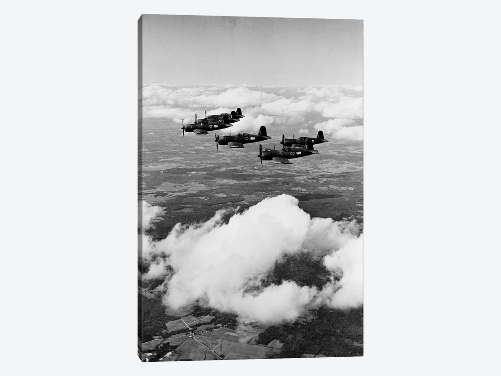 1940s 6 Navy Corsairs Above The Clouds Flying In Formation World War II by Vintage Images 1-piece Canvas Art