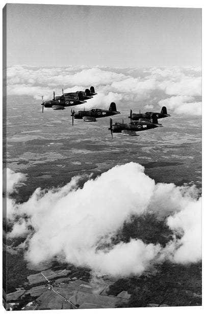 1940s 6 Navy Corsairs Above The Clouds Flying In Formation World War II Canvas Art Print