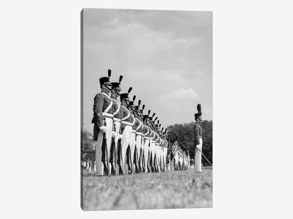 1940s A Row Of Uniformed Military College Cadets At Dress Parade Chester Pennsylvania by Vintage Images 1-piece Canvas Print