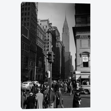 1940s Anonymous Pedestrian Crowd Taxis Crossing Intersection 42nd Street & 5th Avenue Stop Lights Chrysler Building NYC USA Canvas Print #VTG199} by Vintage Images Canvas Artwork