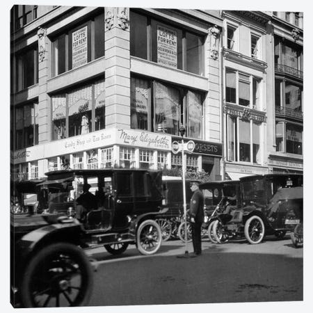 1910s A Policeman Controls Traffic On Fifth Avenue Before WWI Using A Hand Operated Semaphore Signal New York City USA Canvas Print #VTG19} by Vintage Images Art Print