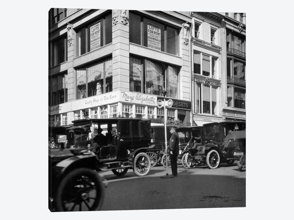 1910s A Policeman Controls Traffic On Fifth Avenue Before WWI Using A Hand Operated Semaphore Signal New York City USA by Vintage Images 1-piece Canvas Wall Art