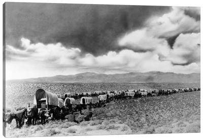 1870s-1880s Montage Of Covered Wagons Crossing The American Plains Canvas Art Print