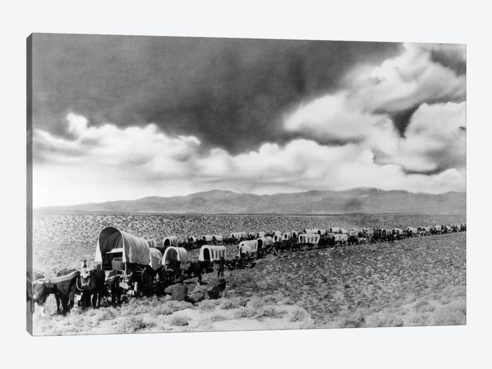 1870s-1880s Montage Of Covered Wagons Crossing The American Plains by Vintage Images 1-piece Canvas Art Print