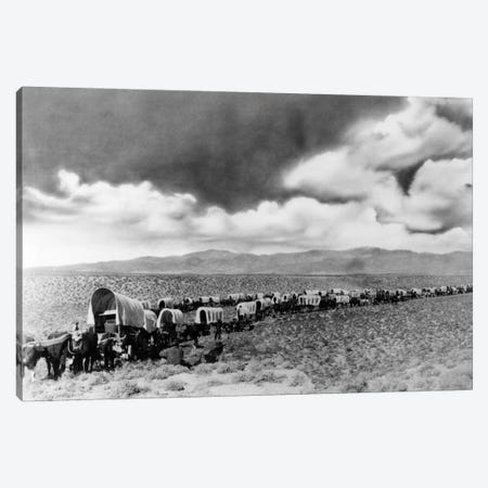 1870s-1880s Montage Of Covered Wagons Crossing The American Plains Canvas Print #VTG1} by Vintage Images Canvas Art Print