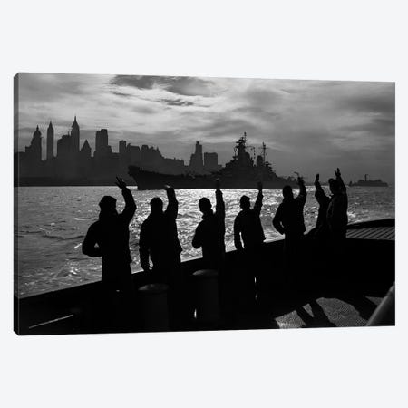1940s Anonymous Silhouetted Sailors Waving Salute To Passing USN Battleship At Night New York City Skyline Canvas Print #VTG200} by Vintage Images Canvas Art