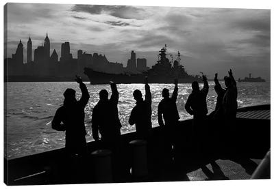 1940s Anonymous Silhouetted Sailors Waving Salute To Passing USN Battleship At Night New York City Skyline Canvas Art Print