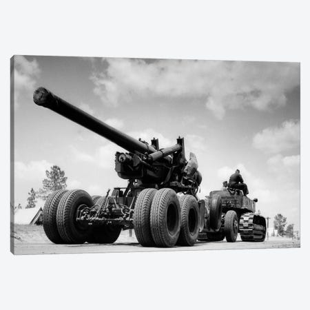 1940s Army Track Laying Vehicle Caterpillar Tractor Hauling Heavy World War Ii Artillery Cannon Canvas Print #VTG201} by Vintage Images Canvas Art