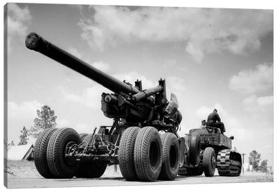 1940s Army Track Laying Vehicle Caterpillar Tractor Hauling Heavy World War Ii Artillery Cannon Canvas Art Print