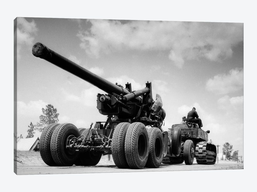 1940s Army Track Laying Vehicle Caterpillar Tractor Hauling Heavy World War Ii Artillery Cannon by Vintage Images 1-piece Canvas Wall Art