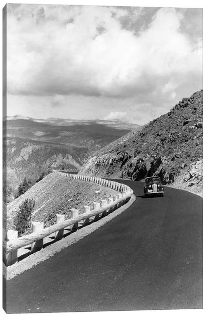 1940s Automobile On Hillside Road Near Yellowstone National Park 11000 Feet Elevation Red Lodge Cooke City Montana USA Canvas Art Print