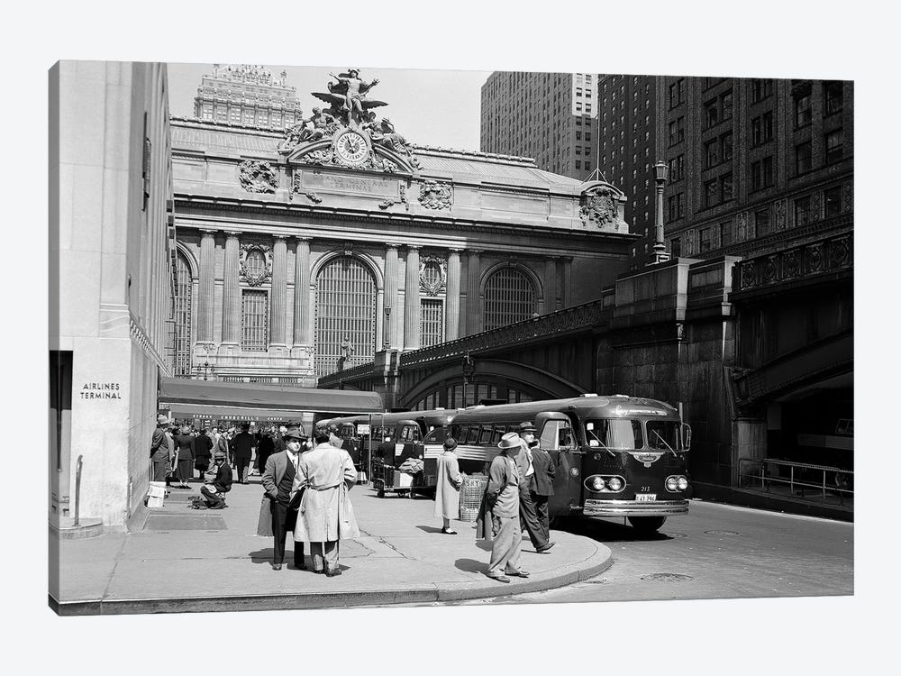 1940s Buses At Airlines Terminal Building On Park Ave Pershing Square Grand Central Station Midtown Manhattan New York City USA by Vintage Images 1-piece Canvas Art Print