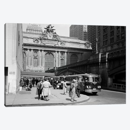 1940s Buses At Airlines Terminal Building On Park Ave Pershing Square Grand Central Station Midtown Manhattan New York City USA Canvas Print #VTG204} by Vintage Images Art Print