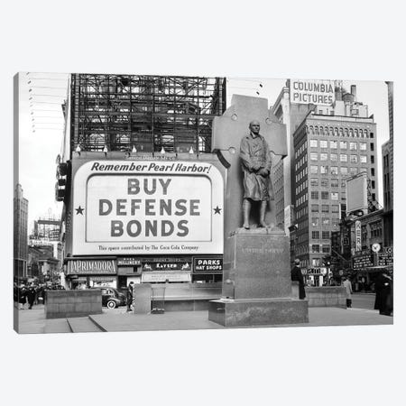 1940s Buy Defense Bonds Billboard At Statue Of Father Duffy Of The Fighting 69th Of World War I At Times Square New York City Canvas Print #VTG205} by Vintage Images Art Print