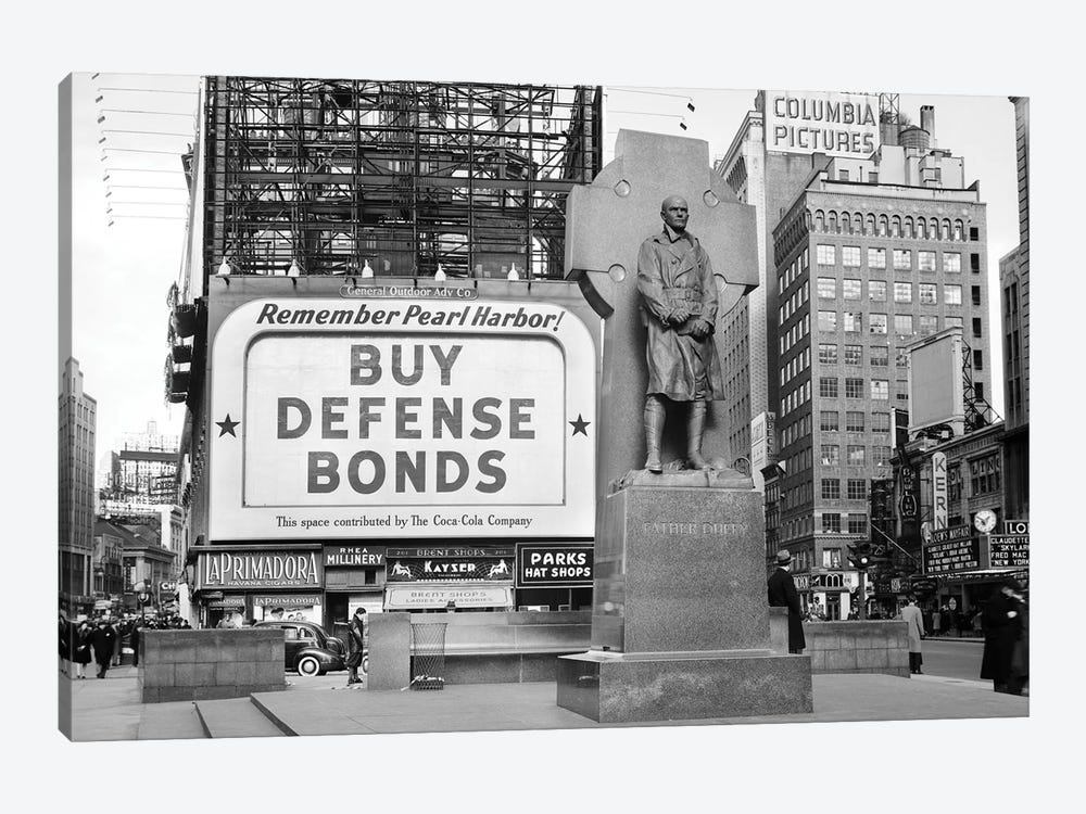 1940s Buy Defense Bonds Billboard At Statue Of Father Duffy Of The Fighting 69th Of World War I At Times Square New York City by Vintage Images 1-piece Canvas Artwork