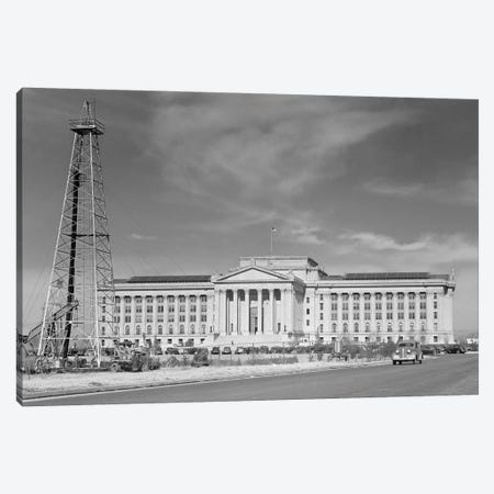 1940s Capitol Building With Oil Derrick In Foreground Oklahoma City Oklahoma USA Canvas Print #VTG207} by Vintage Images Canvas Print
