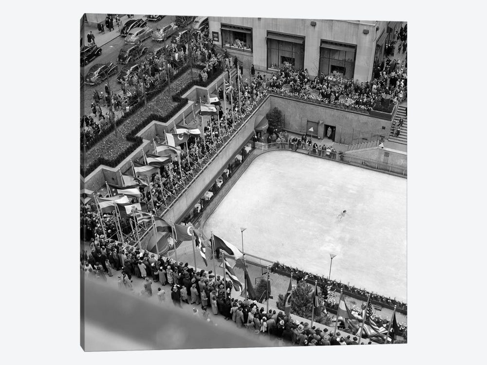 1940s Crowd Watching Skater Rockefeller Center Ice Skating Rink Midtown Manhattan New York City by Vintage Images 1-piece Canvas Print