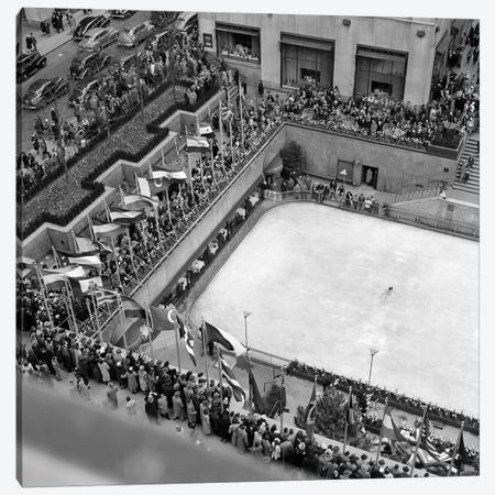 1940s Crowd Watching Skater Rockefeller Center Ice Skating Rink Midtown Manhattan New York City Canvas Print #VTG208} by Vintage Images Canvas Wall Art