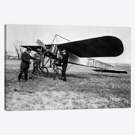 1910s Group Of Three Men Standing In Front Of Early Monoplane One With Hand On Propeller Canvas Print #VTG20} by Vintage Images Canvas Art