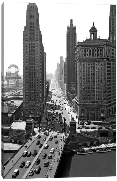1940s Downtown Skyline Michigan Avenue Chicago Illinois USA Canvas Art Print