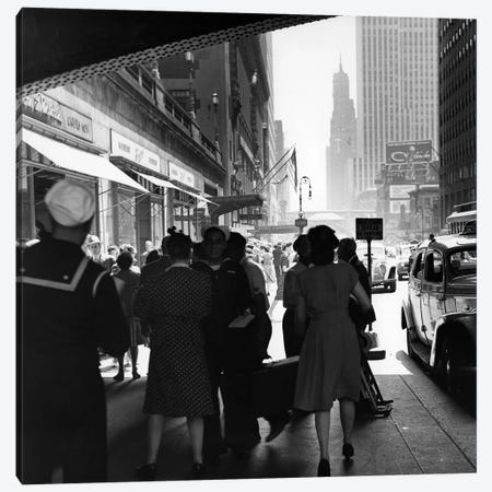 1940s Grand Central Station Men And Women Pedestrians A Sailor In Uniform Taxi And Stores 42nd Street Sidewalk NYC USA Canvas Print #VTG211} by Vintage Images Canvas Art Print