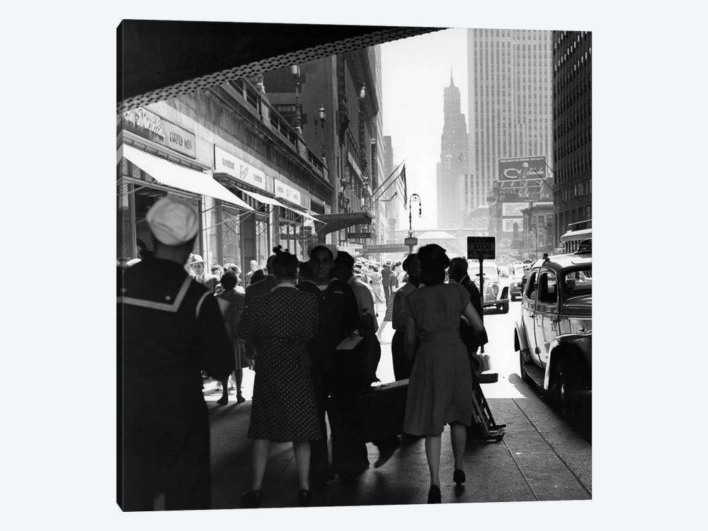 1940s Grand Central Station Men And Women Pedestrians A Sailor In Uniform Taxi And Stores 42nd Street Sidewalk NYC USA by Vintage Images 1-piece Canvas Art Print