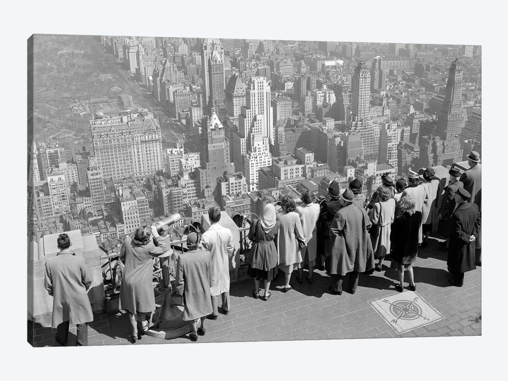 1940s Group Of Anonymous Tourists Standing On Top Of RCA Building Looking North Towards Manhattan Central Park NYC NY USA by Vintage Images 1-piece Canvas Artwork