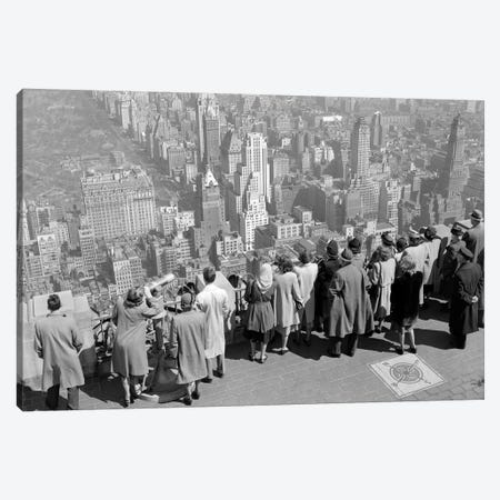 1940s Group Of Anonymous Tourists Standing On Top Of RCA Building Looking North Towards Manhattan Central Park NYC NY USA Canvas Print #VTG212} by Vintage Images Canvas Art Print