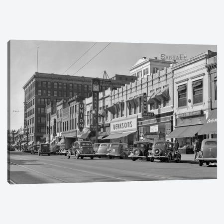 1940s Kansas Street Shopping District Cars Shops Storefronts Topeka Kansas USA Canvas Print #VTG213} by Vintage Images Art Print