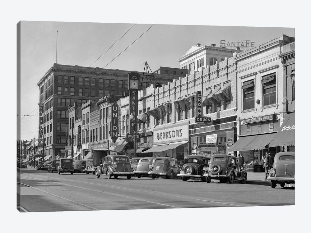 1940s Kansas Street Shopping District Cars Shops Storefronts Topeka Kansas USA by Vintage Images 1-piece Canvas Print