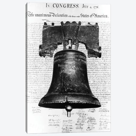 1940s Liberty Bell Superimposed Over Copy Of Declaration Of Independence Canvas Print #VTG215} by Vintage Images Canvas Art