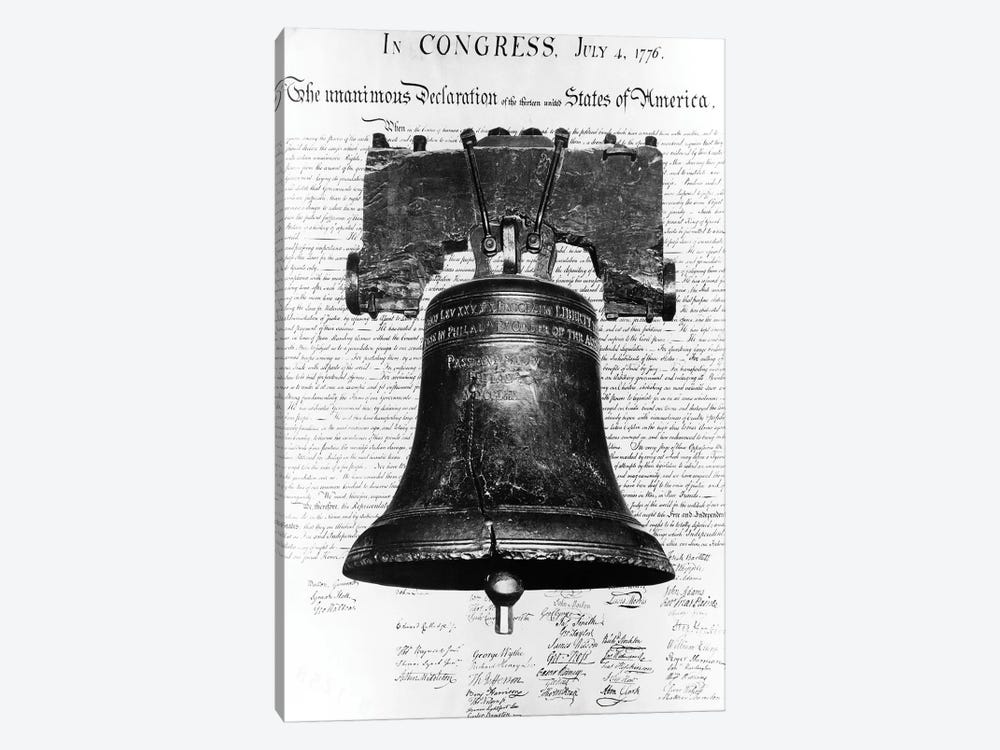 1940s Liberty Bell Superimposed Over Copy Of Declaration Of Independence by Vintage Images 1-piece Art Print