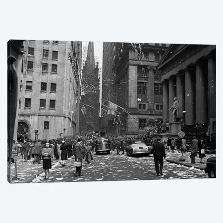 1940s New York City Wall Street Ticker Tape Parade, Celebration Of V-E Day, May 8th, 1945 Canvas Print #VTG217} by Vintage Images Canvas Artwork
