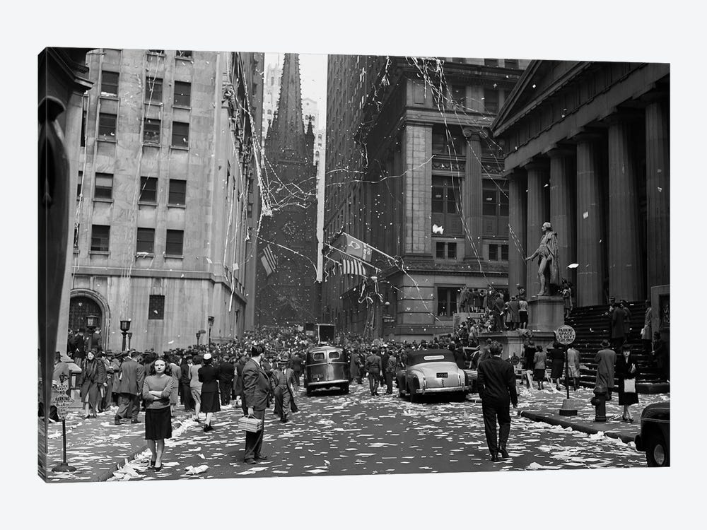 1940s New York City Wall Street Ticker Tape Parade, Celebration Of V-E Day, May 8th, 1945 by Vintage Images 1-piece Canvas Print