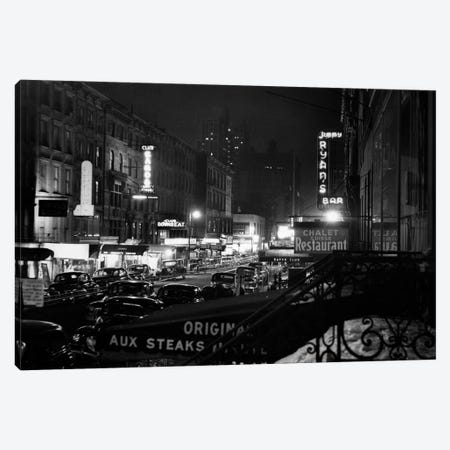 1940s Night Street Scene West 52nd Street Lights From Numerous Clubs And Nightclubs New York USA Canvas Print #VTG218} by Vintage Images Canvas Art Print