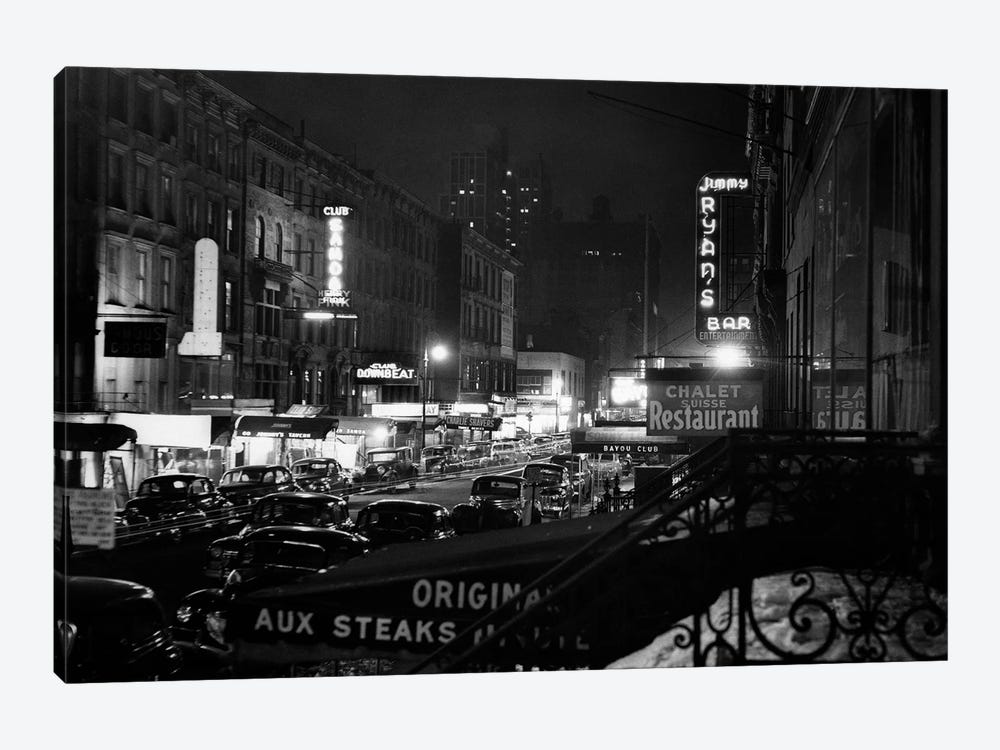 1940s Night Street Scene West 52nd Street Lights From Numerous Clubs And Nightclubs New York USA by Vintage Images 1-piece Canvas Wall Art