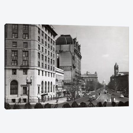 1940s Pennsylvania Avenue With Capitol Building At End Washington Dc USA Canvas Print #VTG219} by Vintage Images Art Print