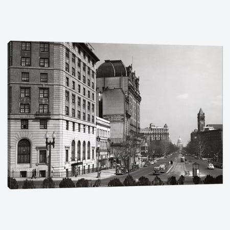 1940s Pennsylvania Avenue With Capitol Building At End Washington Dc USA Canvas Print #VTG219} by Vintage Images Art Print
