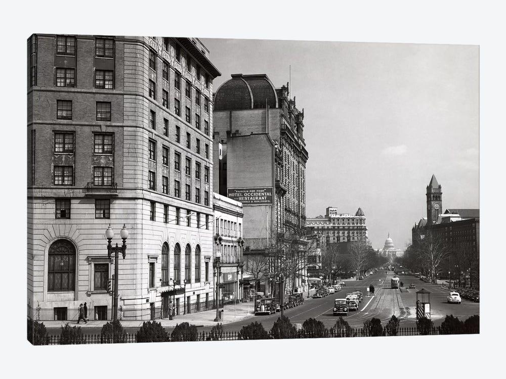 1940s Pennsylvania Avenue With Capitol Building At End Washington Dc USA by Vintage Images 1-piece Canvas Art Print