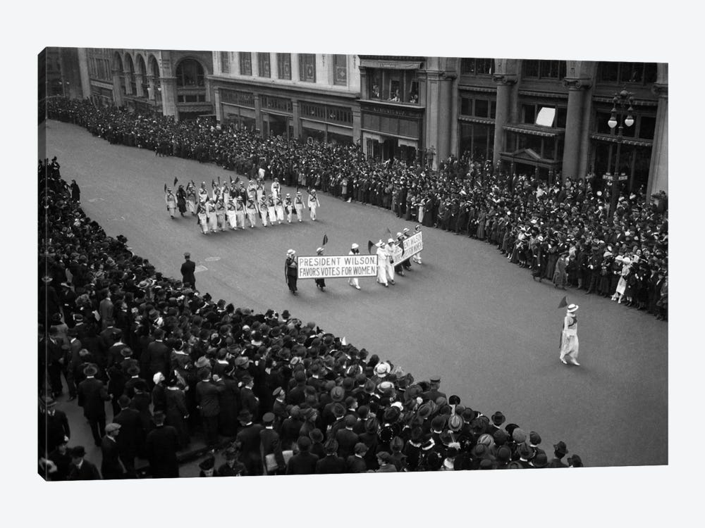 1910s Overhead View Of A Large Crowd Watching People Marching In A Suffrage Parade Circa 1914 by Vintage Images 1-piece Canvas Art Print