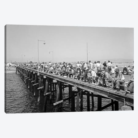1940s People Fishing Off Laguna Beach Pier Laguna Beach California USA Canvas Print #VTG220} by Vintage Images Canvas Wall Art