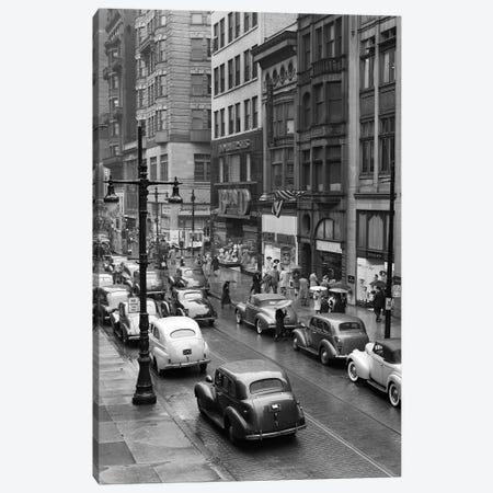 1940s Rainy Day On Chestnut Street Philadelphia Pa Cars Pedestrians Storefronts Canvas Print #VTG221} by Vintage Images Canvas Wall Art