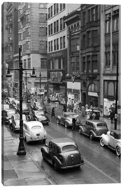 1940s Rainy Day On Chestnut Street Philadelphia Pa Cars Pedestrians Storefronts Canvas Art Print