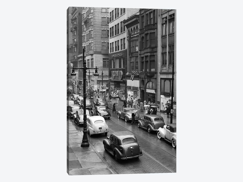 1940s Rainy Day On Chestnut Street Philadelphia Pa Cars Pedestrians Storefronts by Vintage Images 1-piece Canvas Artwork