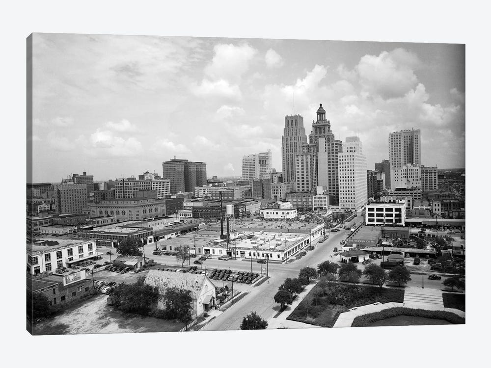 1940s Skyline Of Business District Of Houston Texas From City Hall by Vintage Images 1-piece Canvas Art