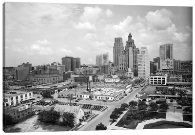 1940s Skyline Of Business District Of Houston Texas From City Hall Canvas Art Print