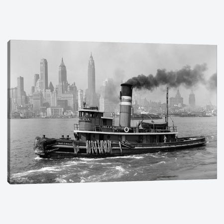 1940s Steam Engine Tugboat On Hudson River With New York City Skyline In Smokey Background Outdoor Canvas Print #VTG224} by Vintage Images Canvas Art Print