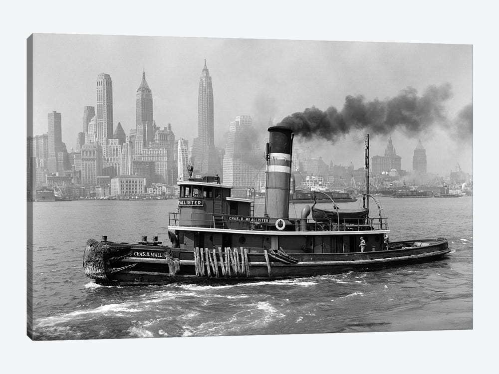 1940s Steam Engine Tugboat On Hudson River With New York City Skyline In Smokey Background Outdoor by Vintage Images 1-piece Canvas Art Print